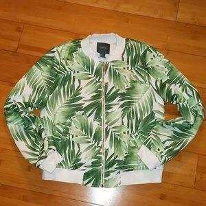 Palm leaf tropical light bomber jacket medium